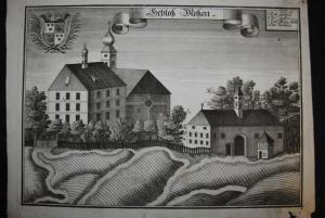 Kupferstich von Michel Wening - Schloss Moßen - 1721