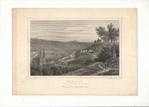 Marburg - Ansicht - Stahlstich von Poppel - Ca.1850