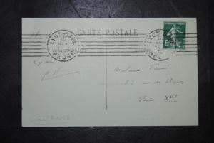 Fauré - Komponist - Eigenh. Postkarte mit Adresse u. Initialen - 1912