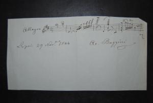 Bazzini - Komponist - Eigenh. musikalisches Albumblatt mit Unterschrift - 1844
