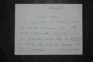 Delibes - Komponist - Eigenhändiges Billet - 2 Seiten mit Unterschrift