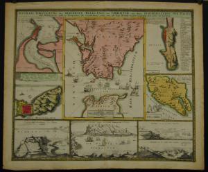 Homann – Gibraltar – Altkolor. Kupferkarte - 1735