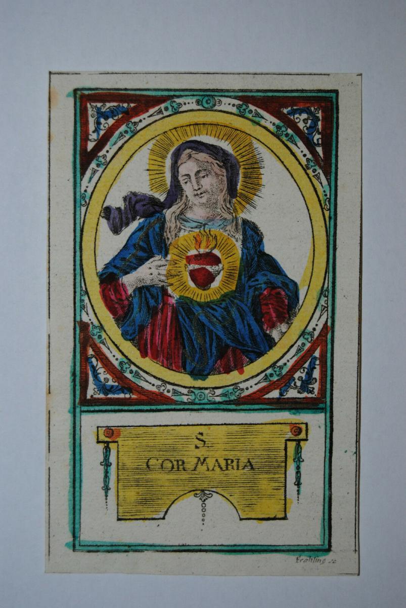 Herz Mariä – Altkolorierter Kupferstich von Frehling – Ca. 1780 0