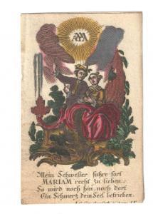 Andachtsbildchen zu Ehren Marias - Altkolor. Kupferstich - 1780