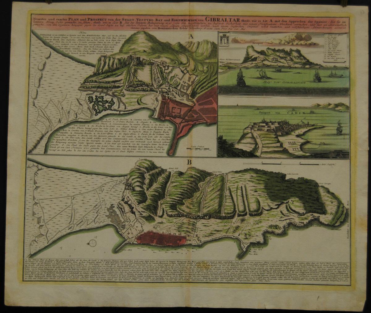 Homann Erben – Altkolor. Kupferstichkarte von Gibraltar – Ca. 1735 0