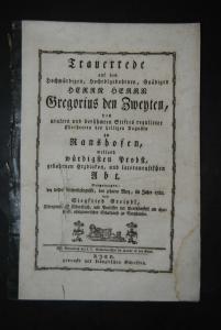 Greindl - Trauerrede zum Tod von Abt Gregor II. von Kloster Ranshofen - 1784