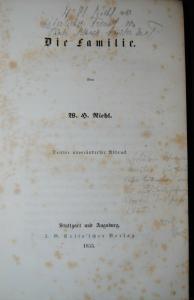 Riehl – Die Familie – 1855 – Eigenhd. Widmung – Aus Besitz der Familie v. Tirpit