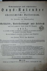 Seyfried - Haus-Kalender für das österreichische Kaiserthum - 1835