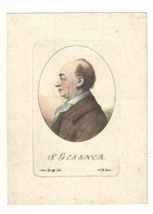 Radierung - koloriert - Portrait S. Gessner - 1791