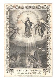 Lithographie - O Maria, Stern des Meeres rette uns aus dem Schiffbruche - 1865