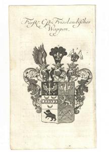 Fürstl. Ost – Friesländisches Wappen – Kupferstich 1756