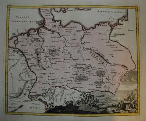 Deutschland im Altertum – Kolorierte Kupferkarte – Weigel 1720
