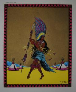 Gallois, Émile – Indianer – Pochoirkolorierter Druck – Paris um 1920