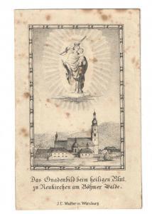 Wallfahrt - Das Gnadenbild beim heiligen Blut Lithographie - ca. 1875
