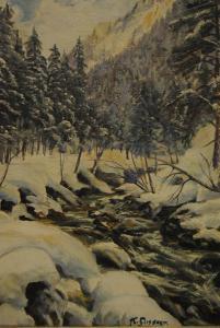 Gossner - Ölbild - Wintertag im Allgäu - um 1930