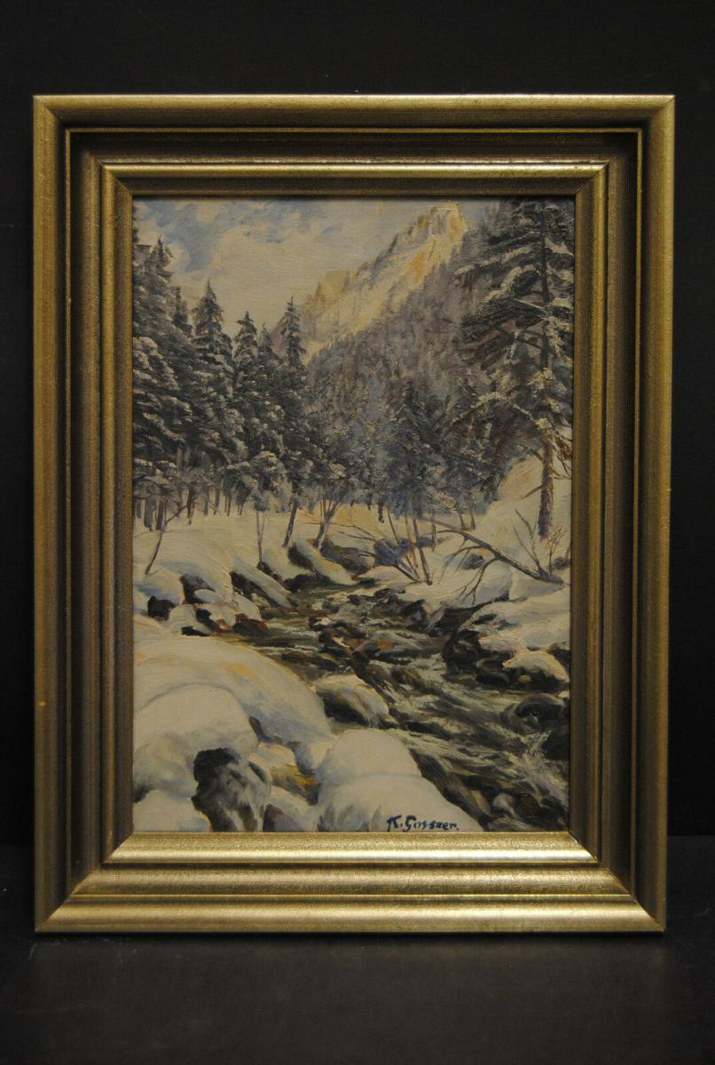Gossner - Ölbild - Wintertag im Allgäu - um 1930 1