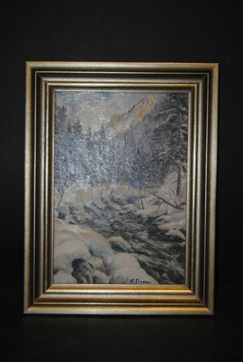 Gossner - Ölbild - Wintertag im Allgäu - um 1930 2