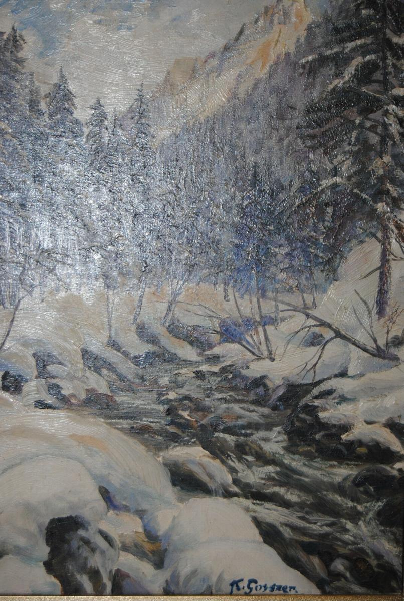 Gossner - Ölbild - Wintertag im Allgäu - um 1930 4