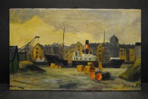 Ölbild - Spreeansicht mit Schloß und Dampfschiff - ca. 1920
