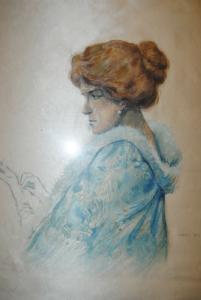 Dame in blauer Robe - Mischtechnik auf Seide - 1913