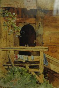 Auqarell über Bleistift - Blick in einen Innenhof - 1900