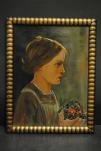 Ölbild - Junges Mädchem mit Blumen - um 1915