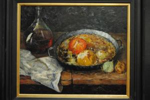 Eitler - Ölbild - Stillleben - Weinkaraffe, Pfanne mit