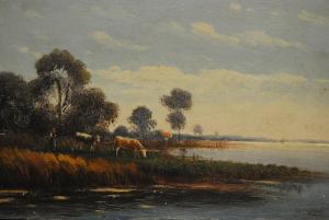 Arnold - Ölbild - Seelandschaft mit Kühen - ca. 1930