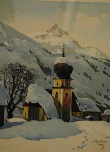 Krause - Aquarell - Verschneite Kirche im Gebirge - ca. 1920