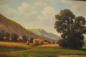 Arnold - Ölbild - Oberbayerische Voralpenlandschaft mit Heuernte - ca. 1930