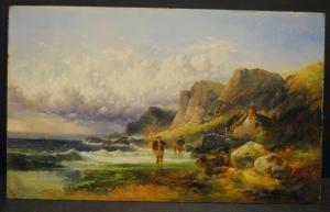 Horlor - Ölbild - Küstenlandschaft in Wales - datiert 1863