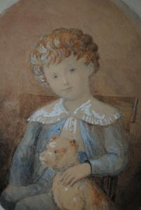 Aquarell - Mr. le marquis de Gubières enfant et son griffon - ca. 1870