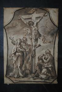Federzeichnung auf Papier - Kreuzigungsszene - um 1750