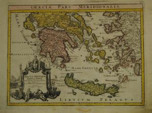 Graeciae antiquae tabula nova – Altkolorierte Karte, Nürnberg 1720