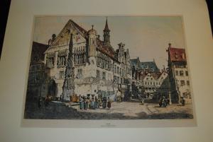 Ulm – Kolorierte Lithographie von Samuel Prout – Um 1832
