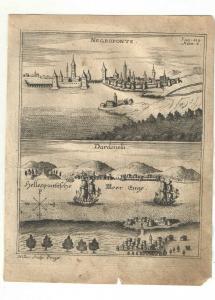 Negropont - Dardanellen - 2 Ansichten - Kupfersicht aus Myller, Peregrinus  1730