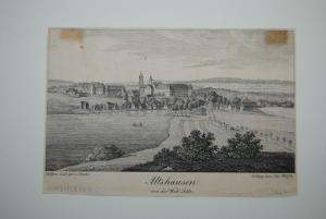 Federlithographien - Altshausen von der Westseite - um 1829