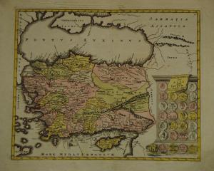 Asiae Peninsula sive Asia intra Taurum - Türkei - Altkolor. Karte - Weigel 1720