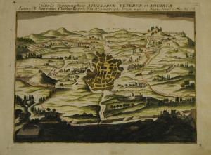 Tabula topographica Athenarum  veterum et novarum – Altkolor. Kupfer - 1720