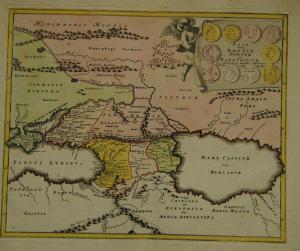Kaspisches Meer und Umgebung – Altkolor. Karte – 1720