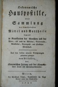 Oekonomische Hauspostille – Wien 1791 – Viele Rezepte