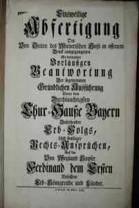 Ickstatt – Erbstreit zwischen Bayern u. Österreich - 1741