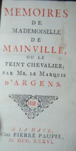 Argens - Memoires de Mademoiselle de Mainville - 1736