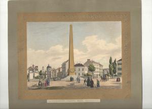 Lithographie - altkoloriert - Karolinenplatz mit Obelisk -  München - ca. 1839