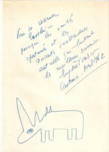 Ionesco Eugène - Eigenhändige Widmung mit Unterschrift und Zeichnung - 1962