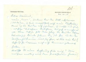 Wittel Erhard - Eigenhändiger Brief mit Unterschrift
