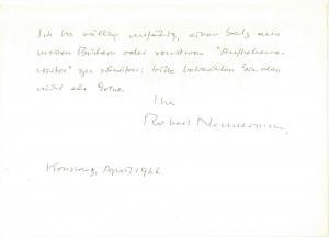 Neumann Robert - Eigenhändige Notiz mit Unterschrift - 1966