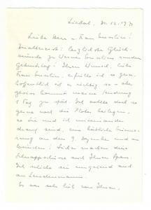 Rentsch Verena - Eigenhändiger Brief mit Unterschrift - 1971