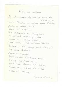 Rentsch Verena - Eigenhändiges Gedicht mit Unterschrift - ca. 1970