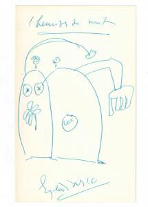 Ionesco Eugène - Eigenhändige Zeichnung mit Unterschrift - 1962